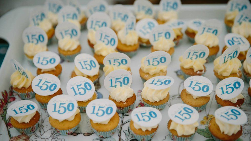 a tray full of 150th Birthday cupcakes, at Hill Top Cumbria