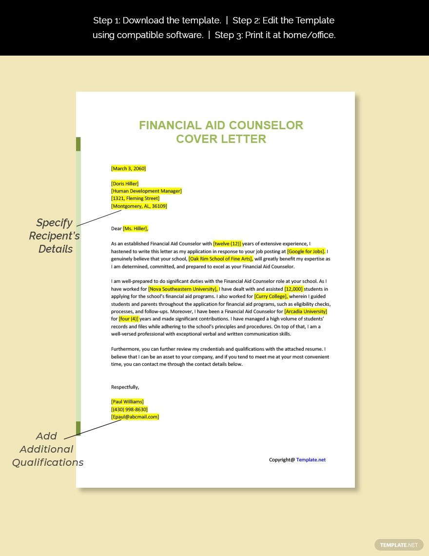Free financial aid counselor cover letter template word