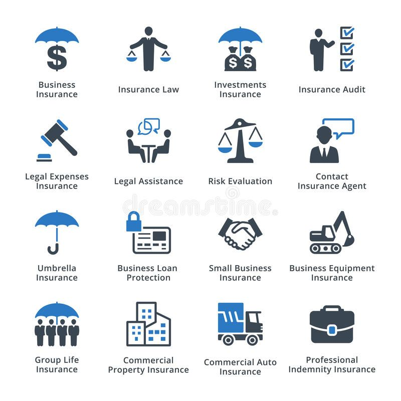 Business Insurance Icons Blue Series This Set Contains Business