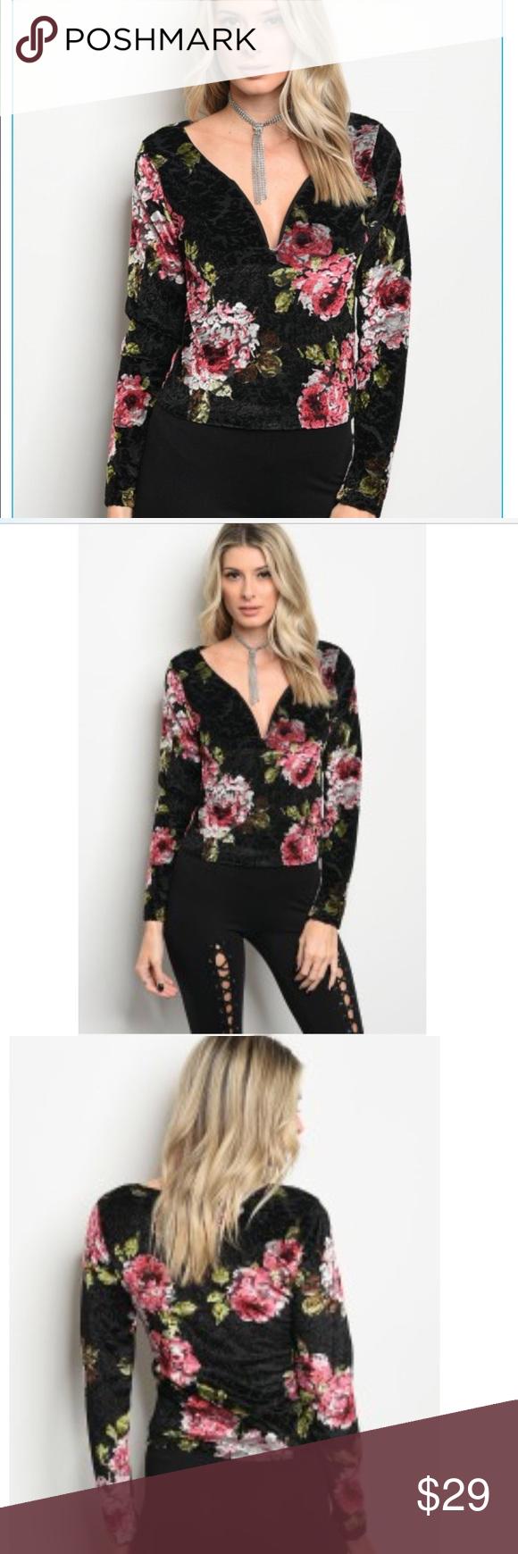 496c6597801 Arriving💕Black Velvet Floral Top Gorgeous black velvet top with floral  pattern! Loving the crushed velvet look this season!! Dress up or down!!  Sizes Small ...
