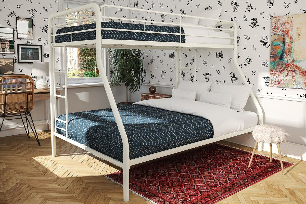 Caryl Twin Over Full Bunk Bed With Mattress Metal Bunk Beds