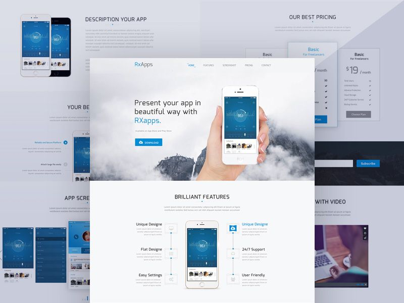 p>Download Modern App Landing Page Template Free PSD. This is a ...