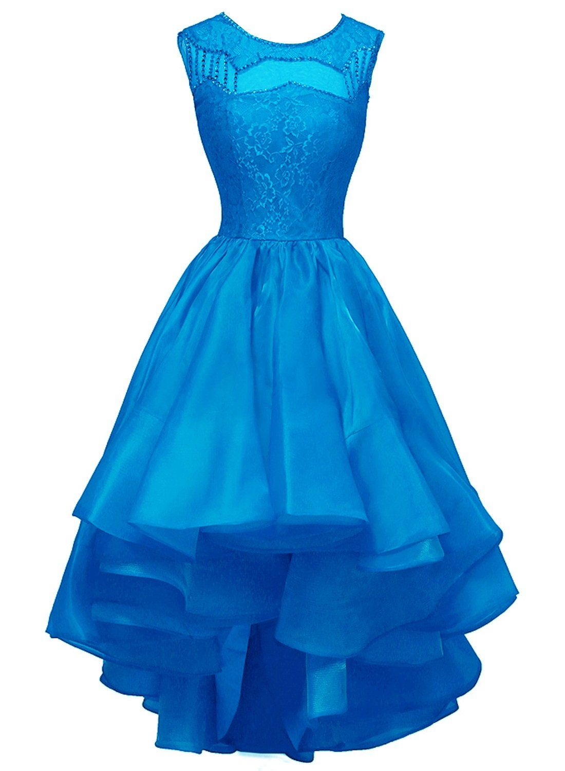 Bess bridal womens highlow beaded lace organza prom party evening