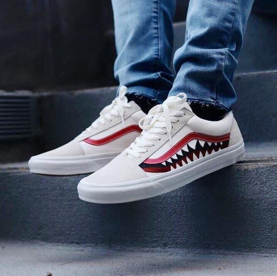 Bape Shark Tooth Custom Vans Old Skool Hype Shoes Shoes Mens Vans Old Skool