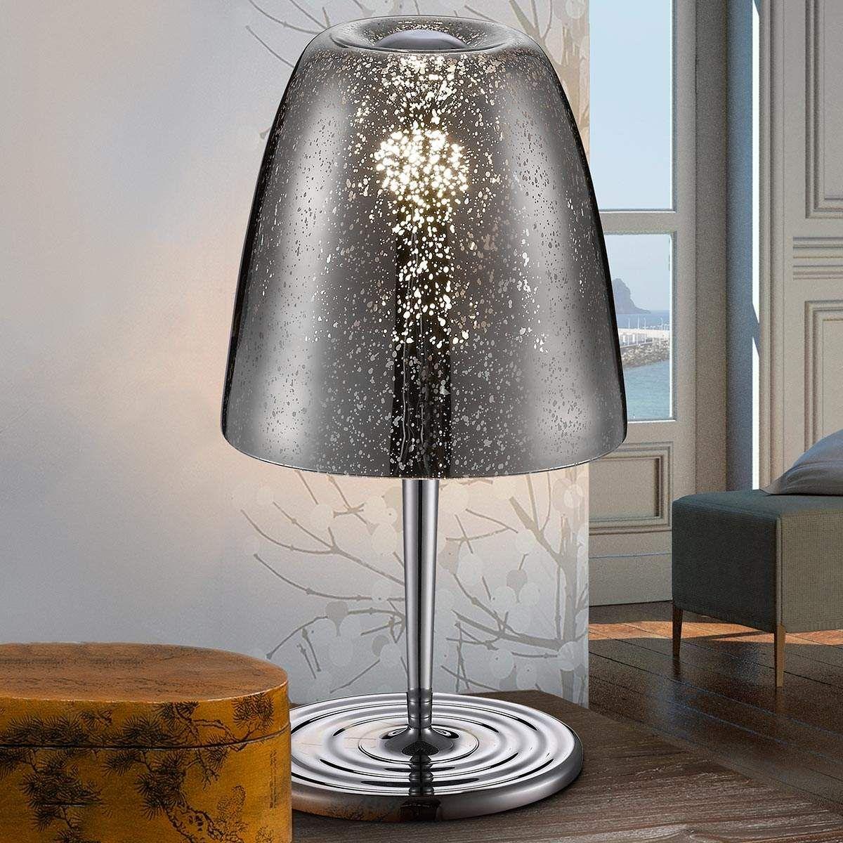 2x Dimmbare LED Tischleuchte mit Glasschirm in weiss Fuss in Nickel MATT TOUCH
