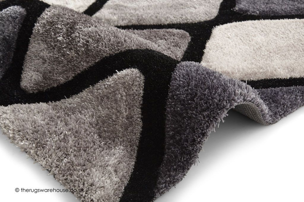 Melio Black Grey Rug Textur Close Up A Soft Long Pile Modern