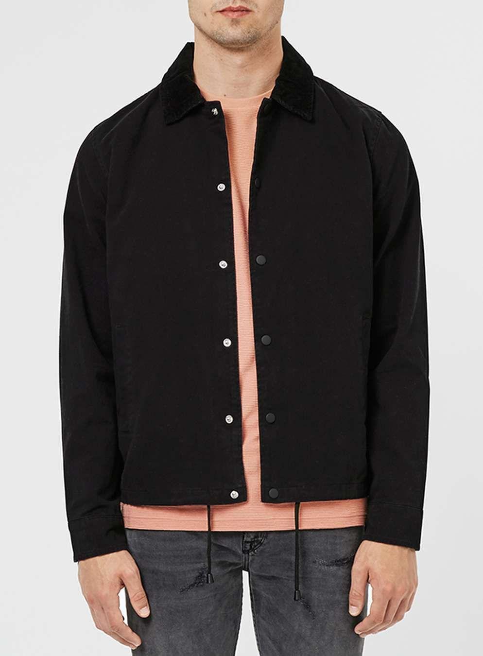 Black Cord Collar Coach Jacket Mens Coats Jackets Clothing