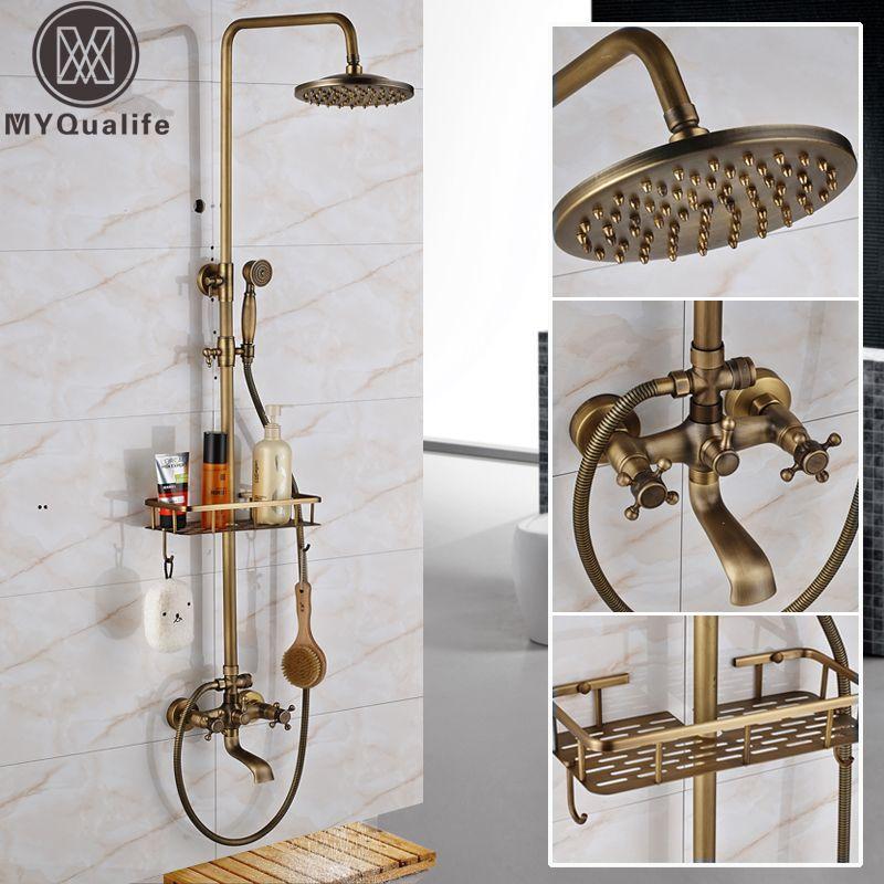 Antique Brass Wall Mounted Bathtub Shower Set Faucet Dual Handle ...