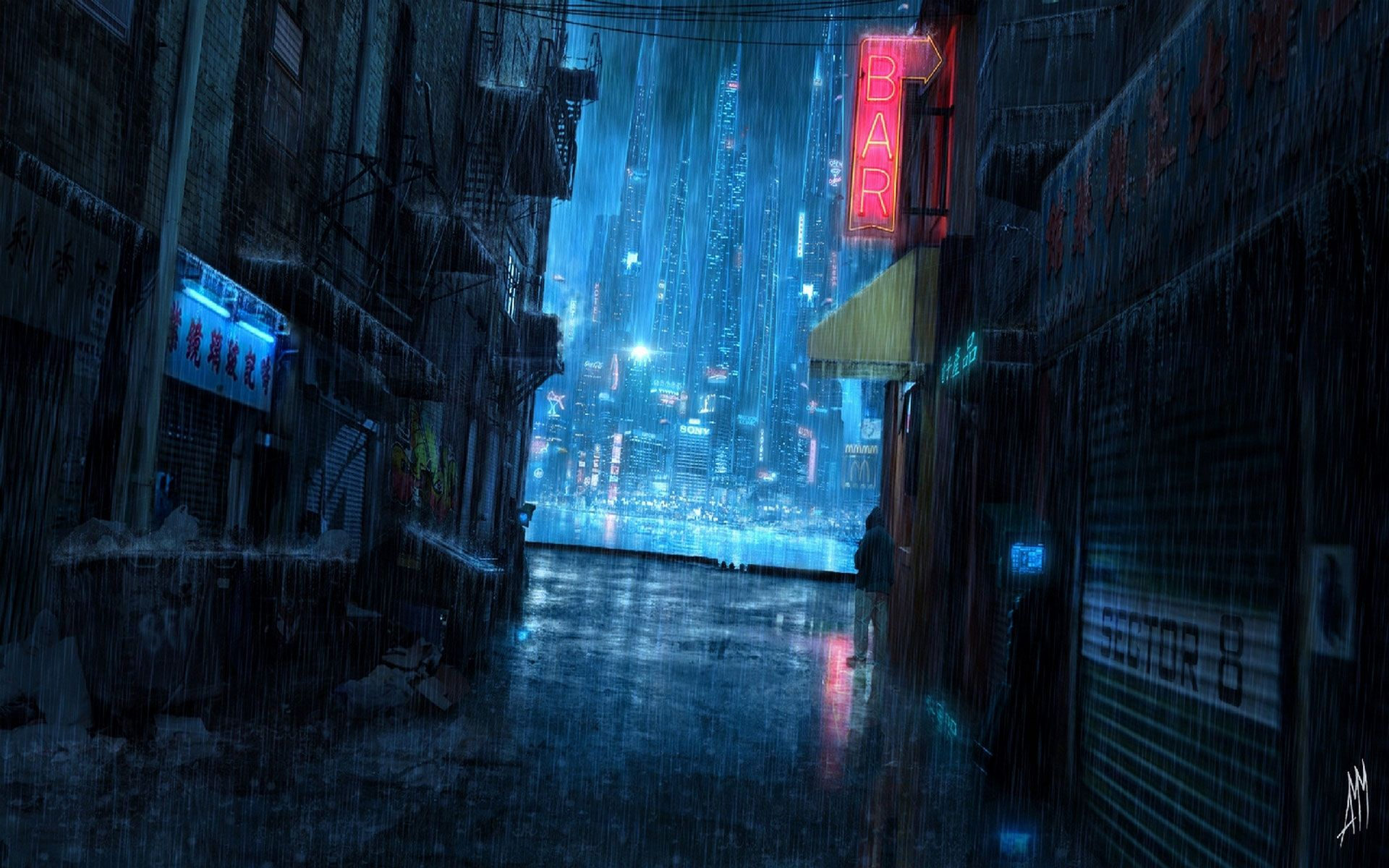 Inspiration Scene Reflective Shine With Blues And Neon Red Accent Lglimitlessdesign Contest Cyberpunk City Urban Fantasy Art Rainy Night