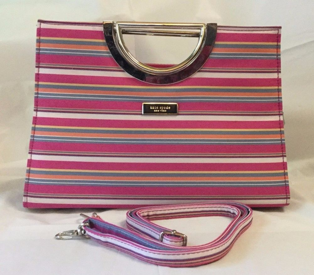 a95f80e73b Vintage Kate Spade Sherbet Pink and Blue Striped Purse Metal Handles and  Strap…