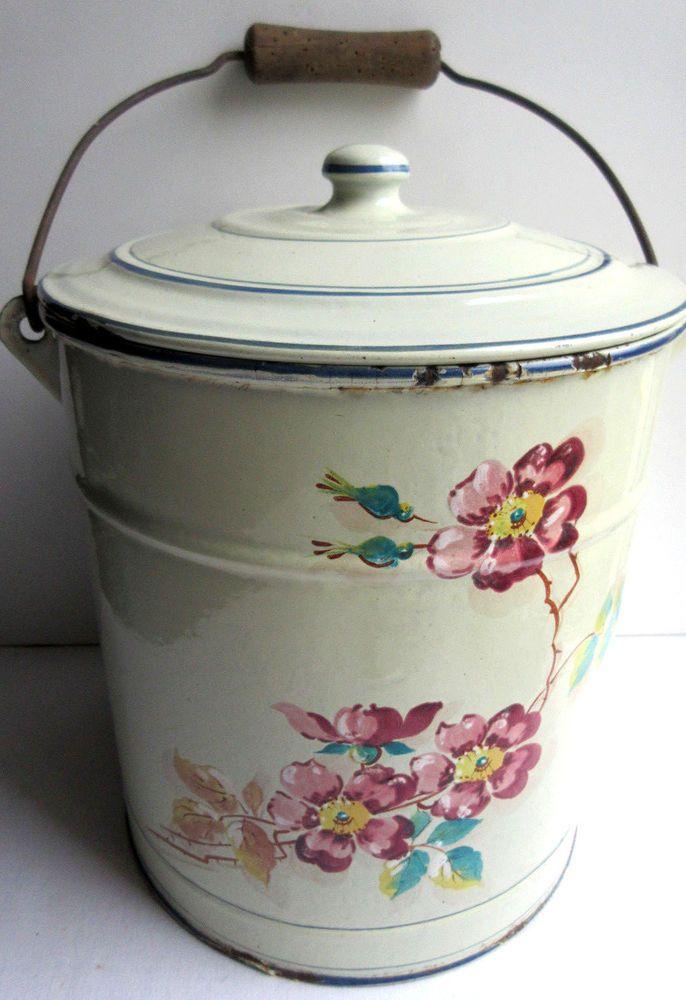 Ancien Pot De Chambre 1900 En Tole Emaillee Comme Cafetiere Eglantines Cafetiere Tole Pots