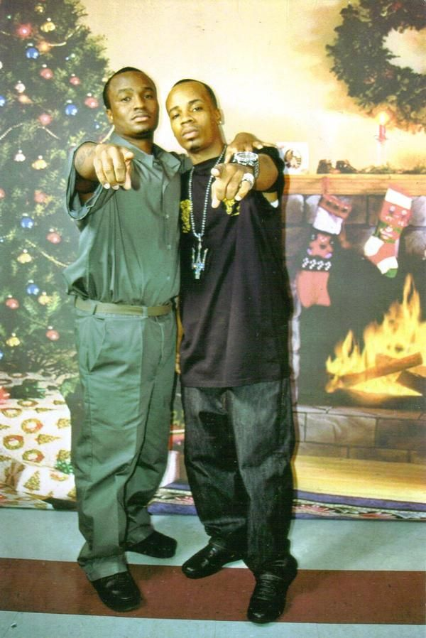 Plies pictured with his brother Big Gates when he was ...