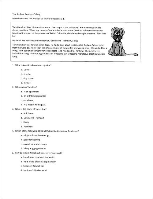 10 Free Reading Tests for Students in Grades 5 Through 9 | Chart ...