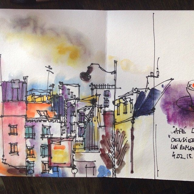 Comme Une Envie De Couleur Sketch Croquis Paris Watercolor