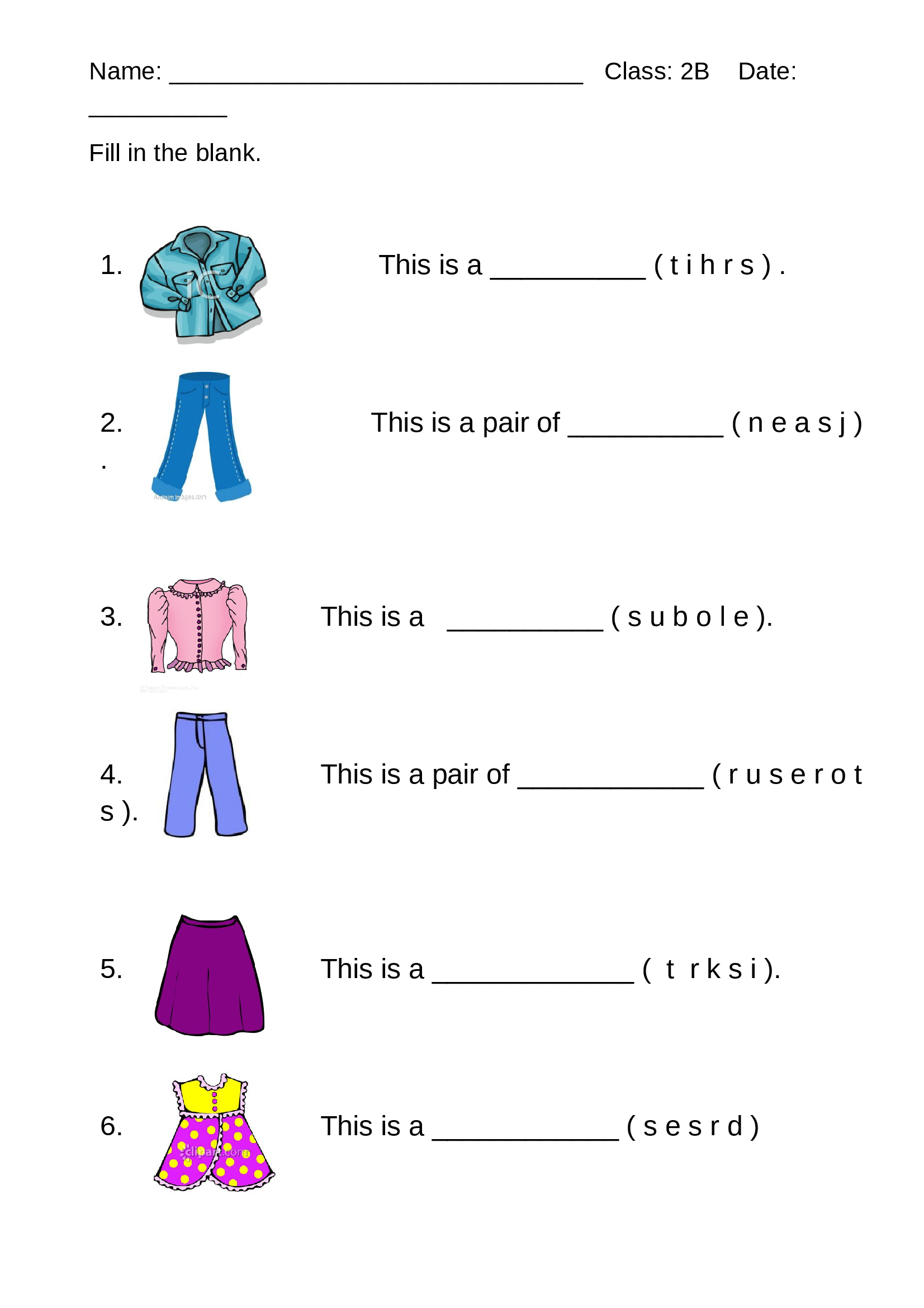 medium resolution of Worksheet - Clothes - Documents   Worksheets