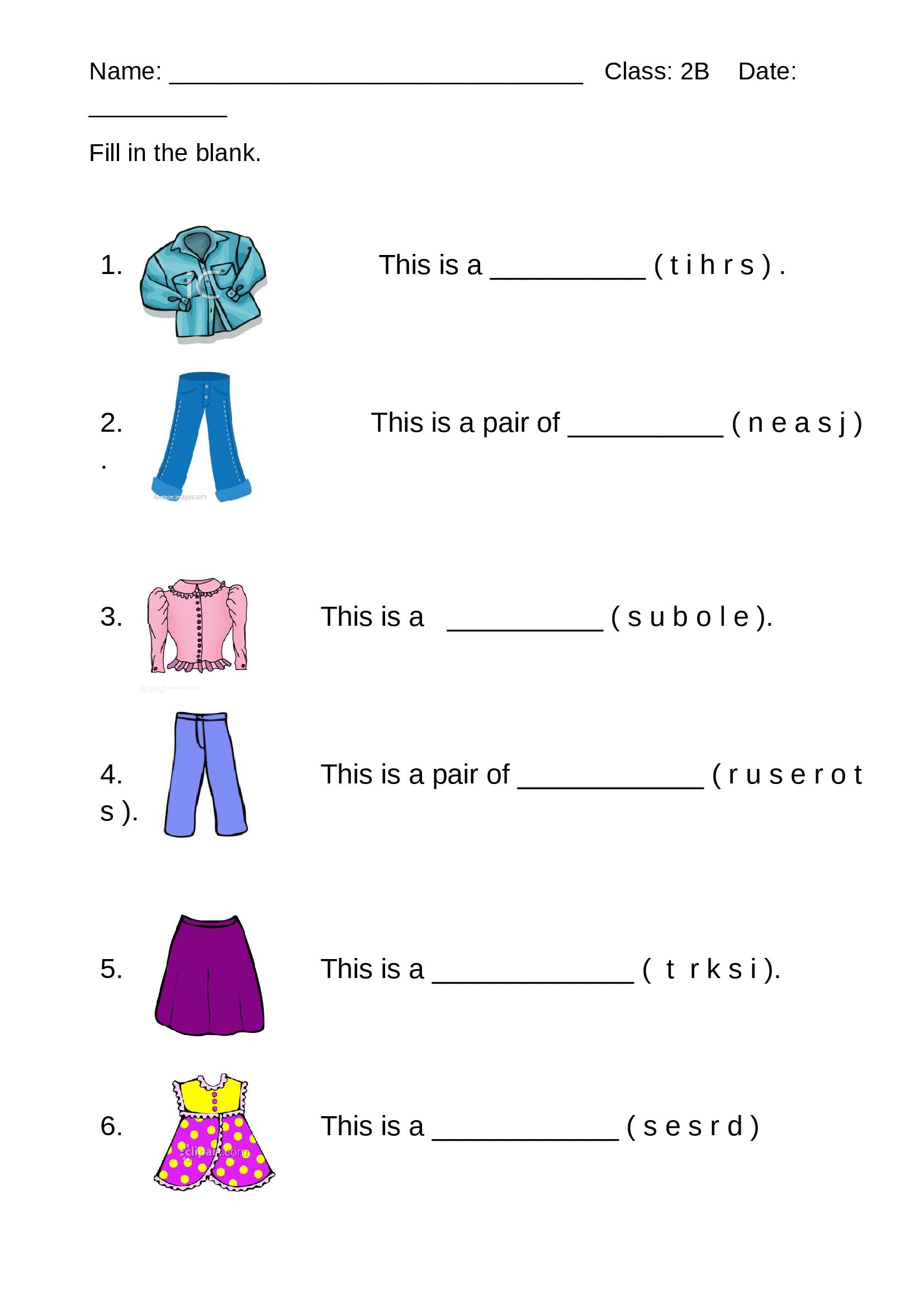 Worksheet - Clothes - Documents   Worksheets [ 2339 x 1653 Pixel ]