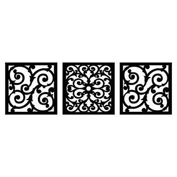 New View Scroll Metal Square Wall Decor 3 Piece Set Wall Decor
