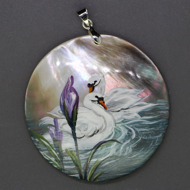 JEWELRY NECKLACE HAND PAINTED SWAN SHELL PENDANT BEAEDS ZL304931 #ZL #Pendant