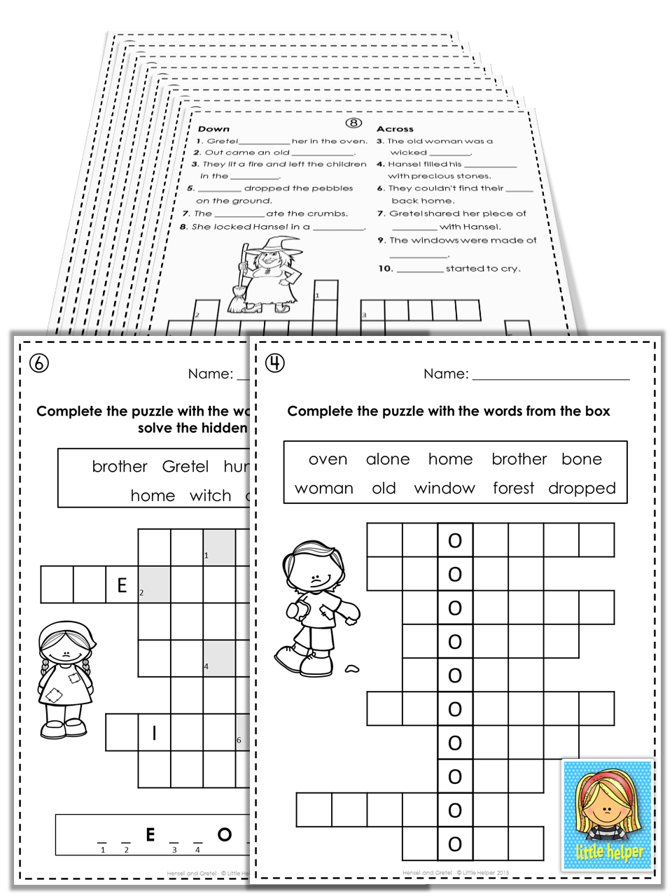 Hansel And Gretel Puzzle Fun This Set Provides Practice In Spelling And Matching And Is Exce Creative Teaching Printable Activities Innovative Teaching Ideas