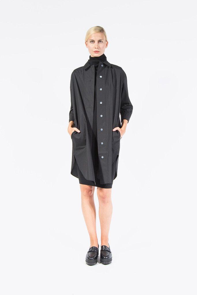 Boyce T Pop Oversized Shirt Dress Black By Acne Studios Kickpleat Acnestudios