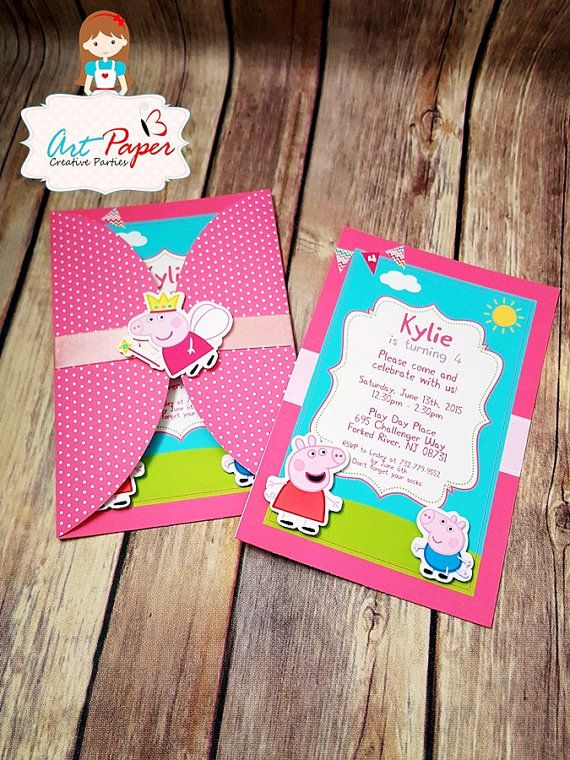 20 Peppa Pig invitation and 20 thank you card  by
