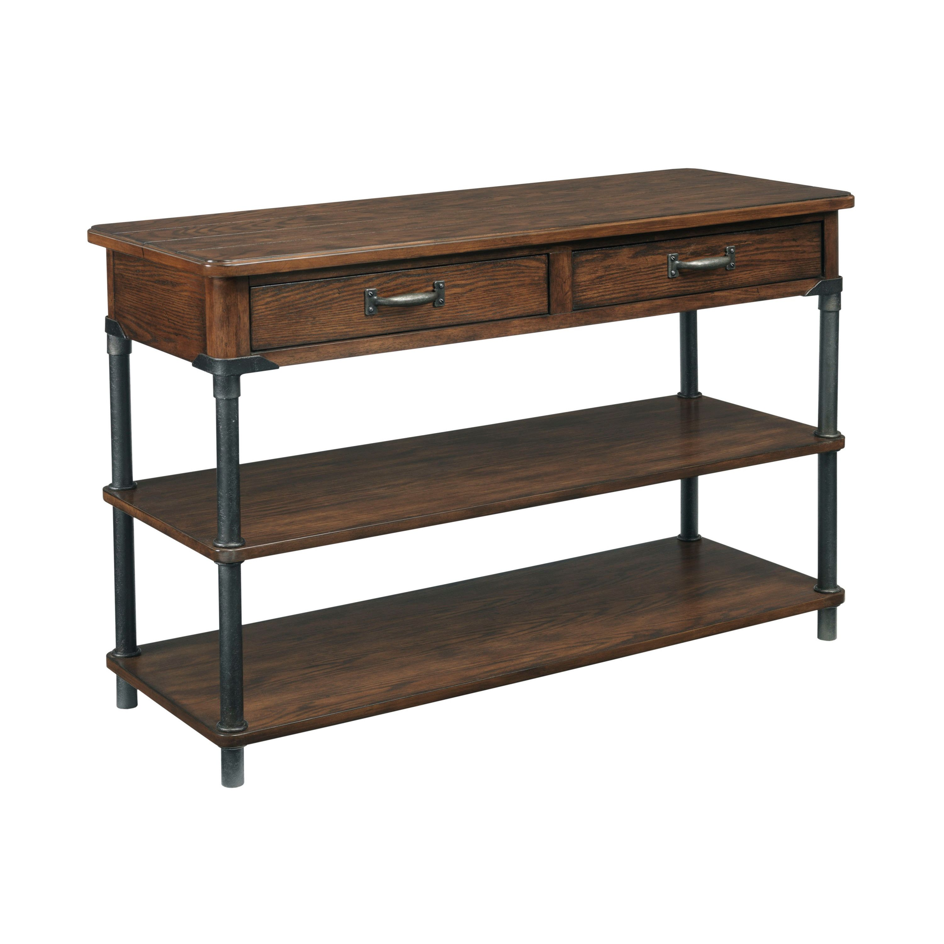 Broyhill saluda console table office pinterest console the sofa table is a casual design with a slightly distressed warm oak finish on rubber wood solids and oak veneers gunmetal finished metal accents and geotapseo Choice Image