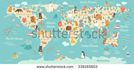 Animals world map vector illustration preschool babycontinents animals world map vector illustration preschool babycontinents oceans drawn earth gumiabroncs Choice Image