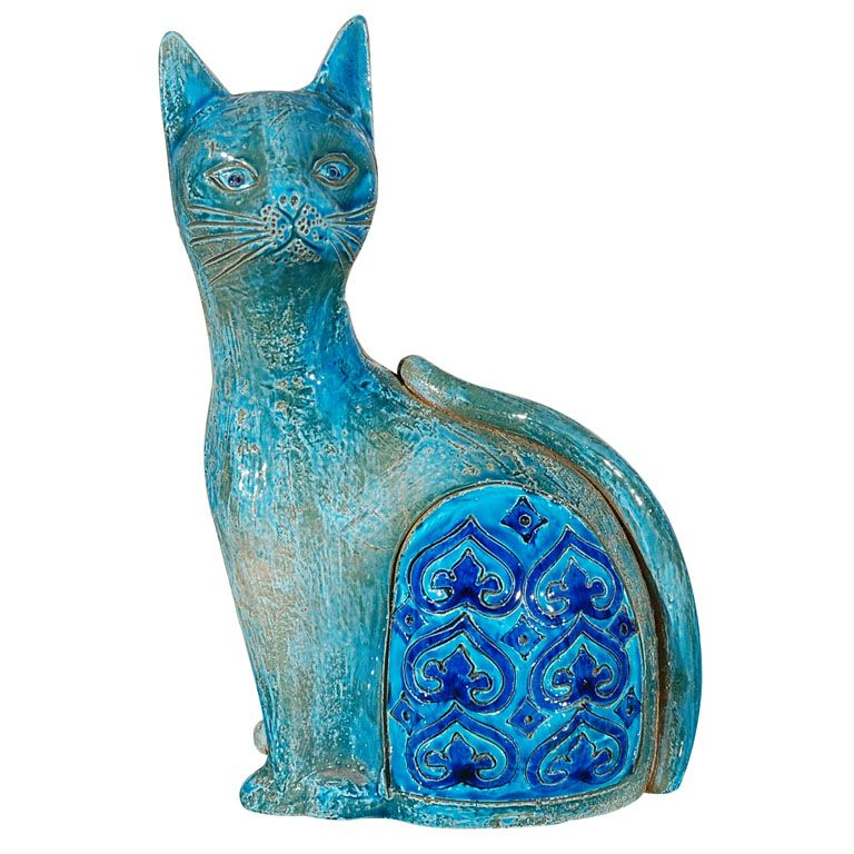 ITALY  1960  TURQUOISE POTTERY CAT SCULPTURE BY RAYMOR.