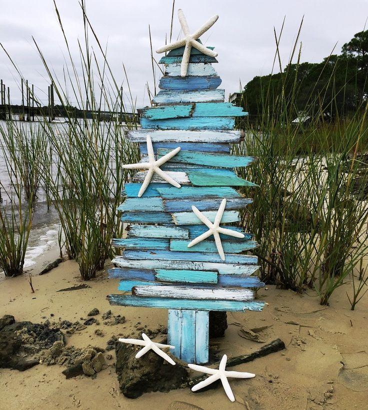 Handcrafted Coastal Wood Christmas Tree Holiday Beach Decor