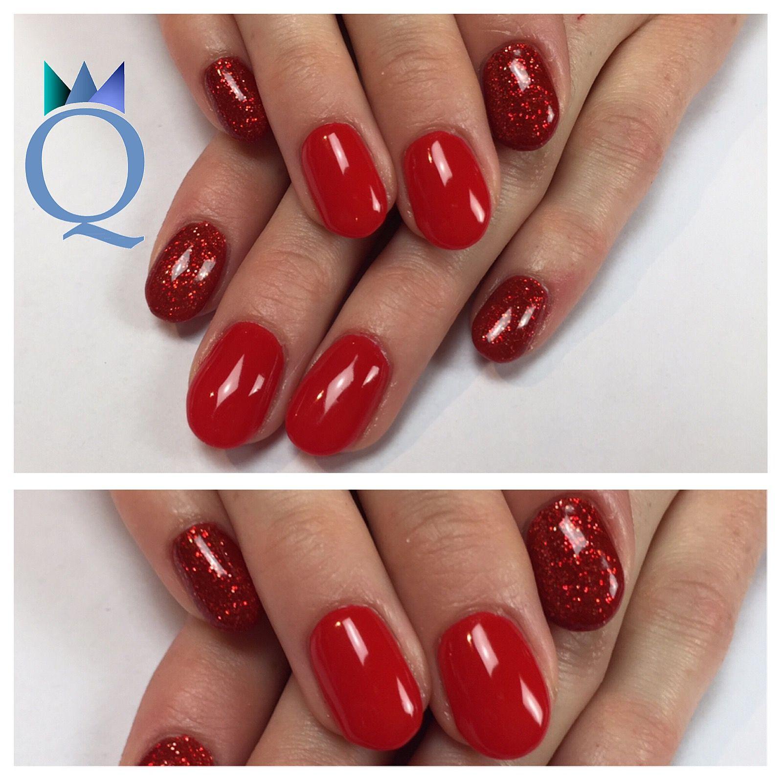 shortnails #gelnails #nails #red #glitter #fallnails #kurzenägel ...