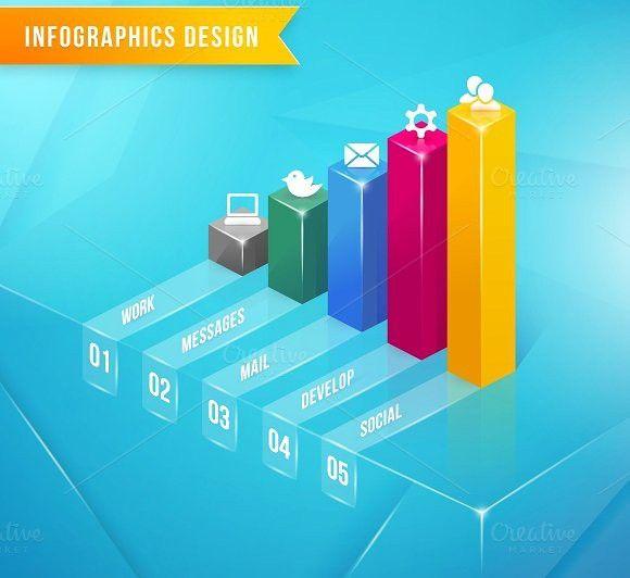 vector 3d bar chart Business Infographic $500 Business - what is a bar chart