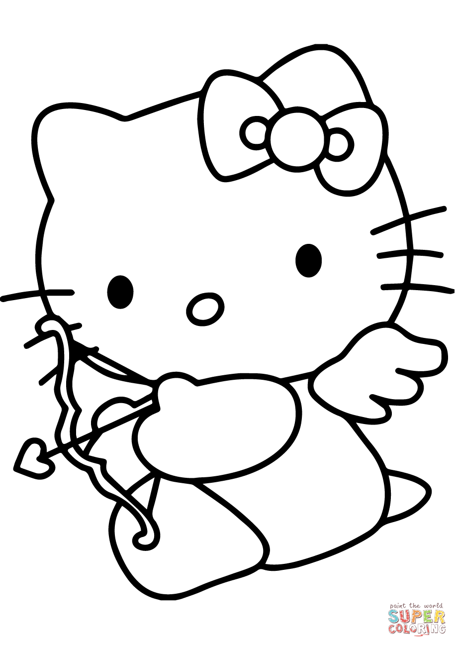 Hello Kitty Valentine S Day Cupid Coloring Page Free Printable Coloring Pages Hello Kitty Coloring Valentines Day Coloring Page Kitty Coloring