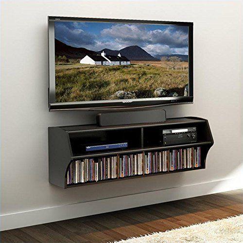 Amazon Com Prepac Altus Wall Mounted Audio Video Console Black Wall Console Shelf Black Walls Wall Mounted Tv Prepac