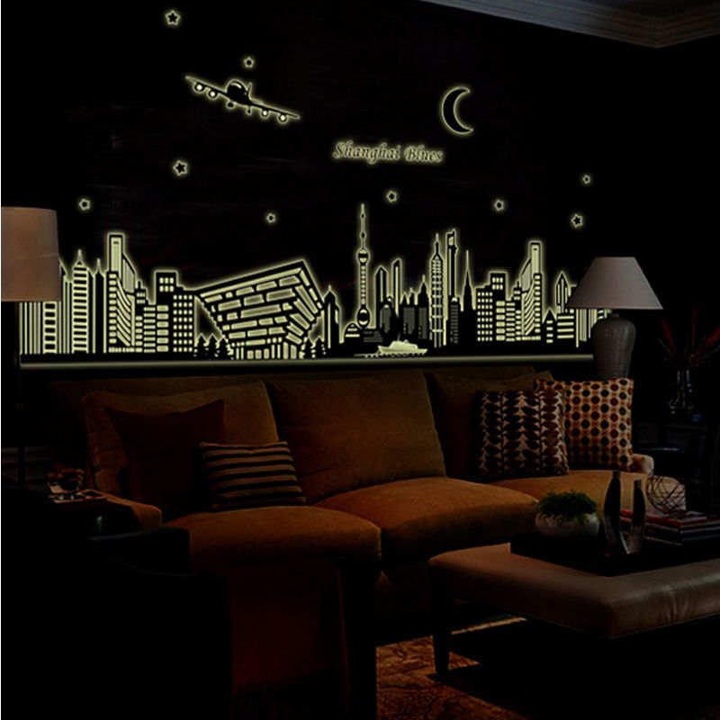 The Best Airbnb Cities For Home Decor Ideas: Bedroom Home Decor Removable Art Decal Fluorescent City