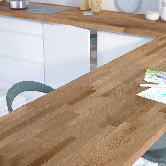 plan de travail droit hetre pre huile 300 x 65 cm ep 38 am nagement cuisine by julie. Black Bedroom Furniture Sets. Home Design Ideas