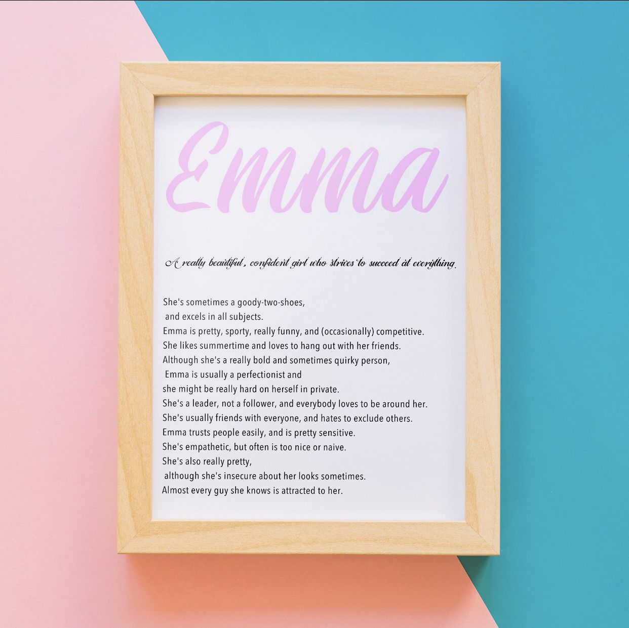 Emma Name Meaning Art Printable Baby Shower Gift Nursery ...
