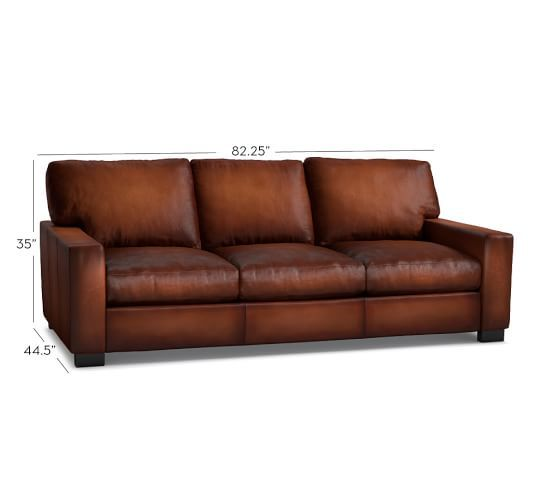 Turner Square Arm Leather Sleeper Sofa, Polyester Wrapped Cushions ...