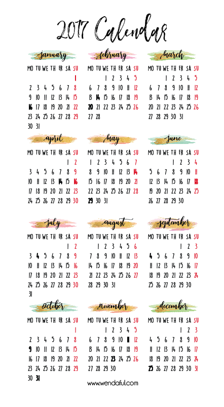 2017 Year at a Glance Planner Insert | Planner inserts, Planners ...