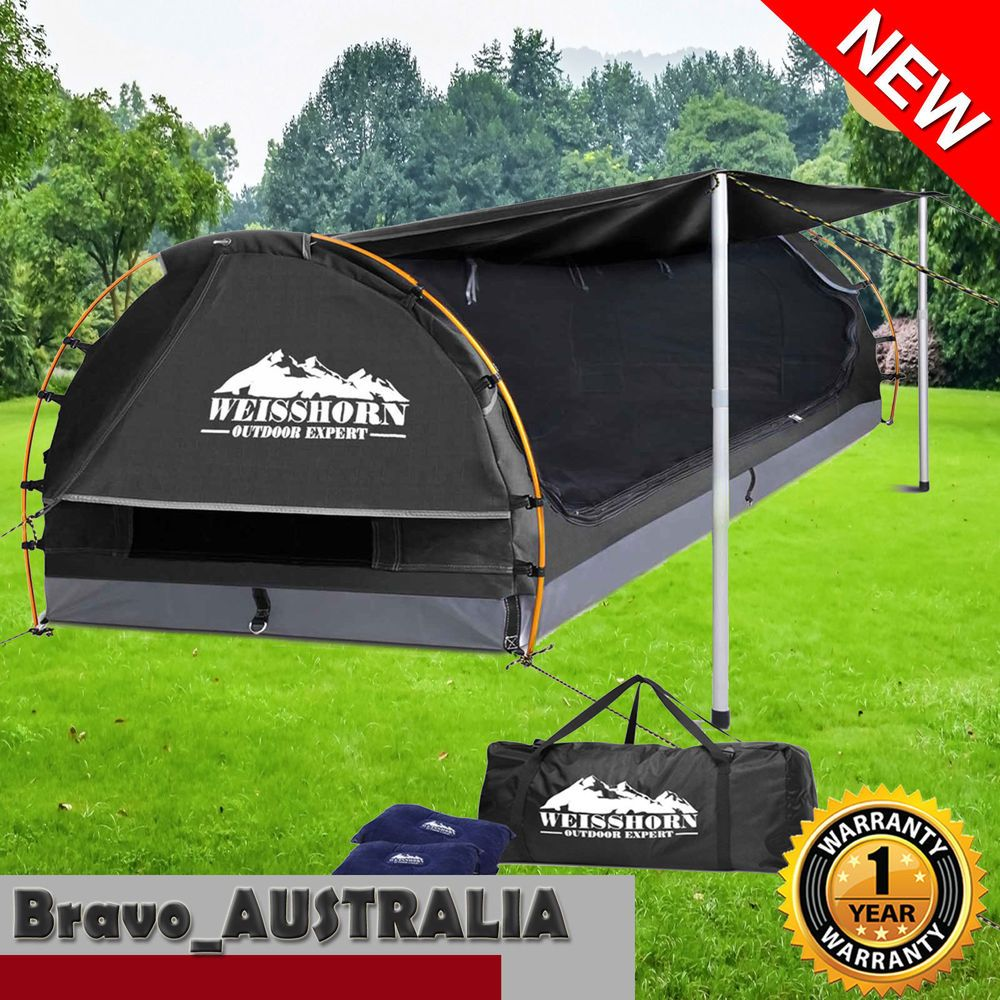 Canvas Swag Double Camping Swags Dome Tent Deluxe Aluminum Poles Bag Grey Canopy Tent Canopy Weights Canopy