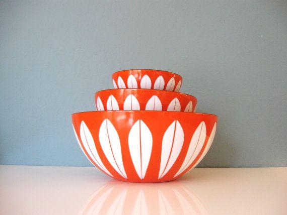 ;:orange cathrineholm enamel bowl set:;