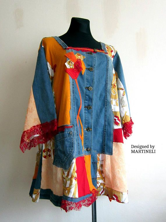 5cf5ef69065 XXXL Crazy Patchwork Tunic Plus Size Upcycled Gypsy Plus Size Hippie Tunic  Top Bohemian Clothing Pop Art Tunic Recycled Tunic Denim and Lace I  designed and ...