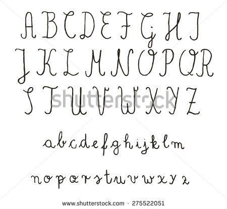 Calligraphy fonts. Vector alphabet. Hand drawn letters