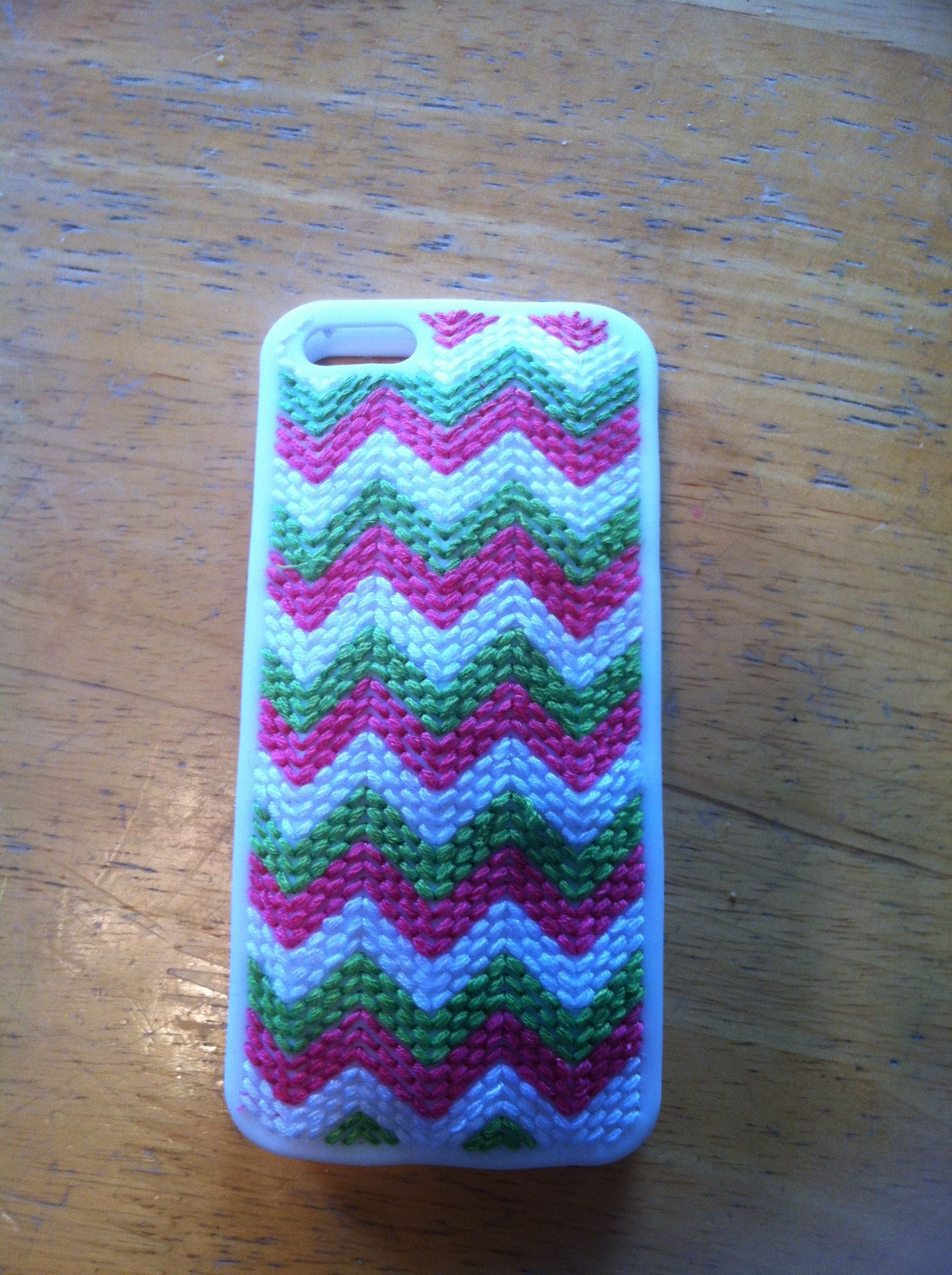 cross stitched iphone chevron case