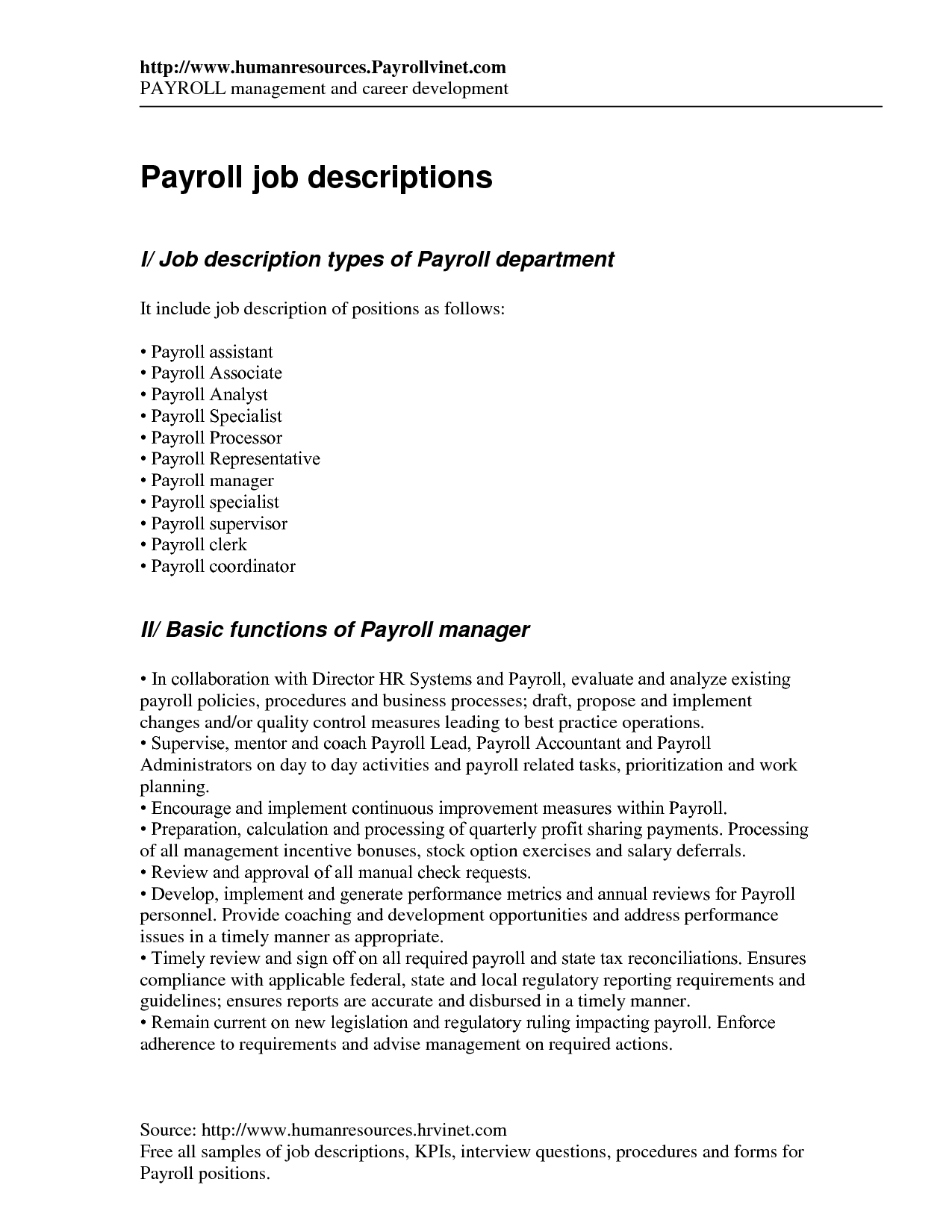 Payroll Clerk Resume Stunning Payroll  Interview  Pinterest