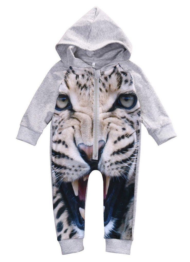 f756c9266 Winter Autumn Newborn Romper Infant Kids 3D leopard Long Sleeve ...