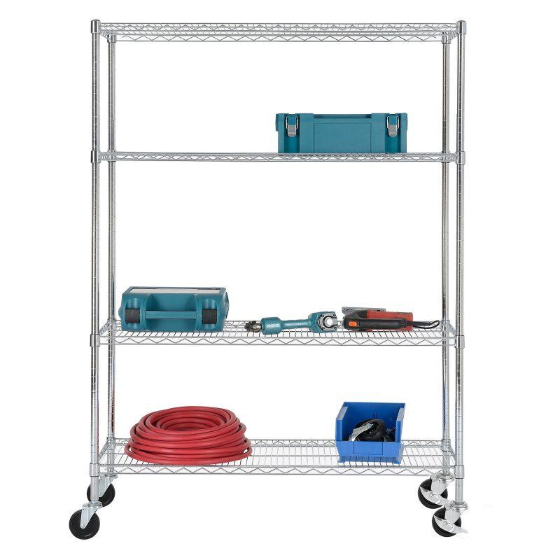 Excel NSF Multi-Purpose 4-Tier Wire Shelving Unit with Casters, 48 ...