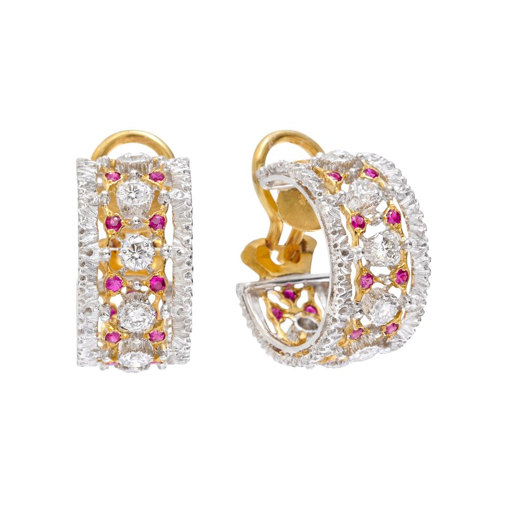 Buccellati Ruby Diamond Hoop Earrings