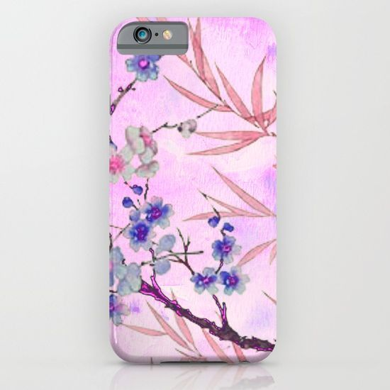 little blue flowers and pink leaves iPhone & iPod Case
