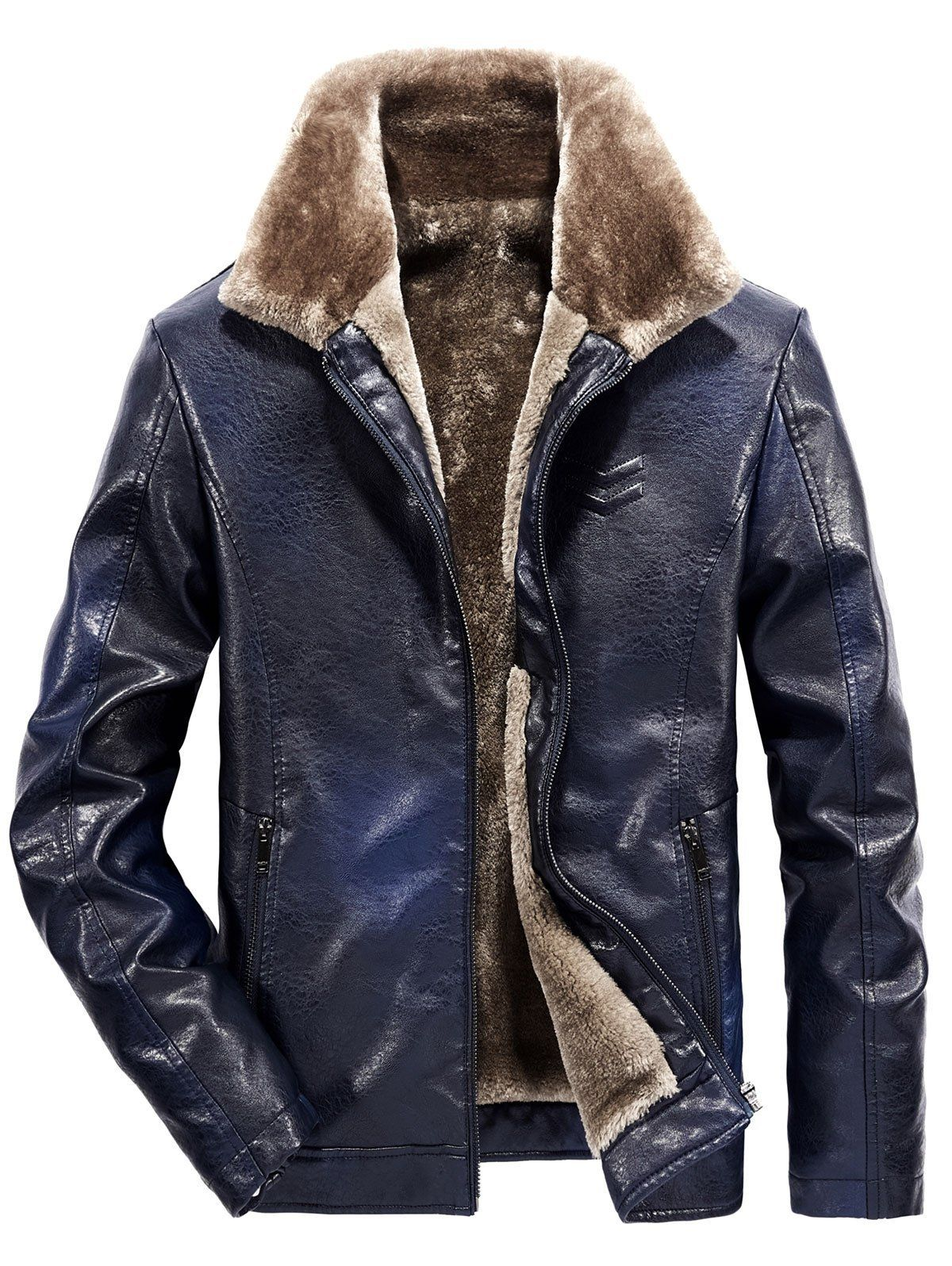 Mens Washed PU Solid Plus-Size Winter Faux Fur Lined Jacket Coat
