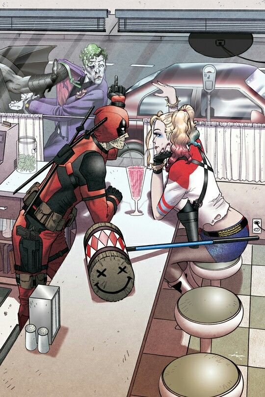 Love This Yes I Know Two Different Worlds But I Like The Thought Of Harley And Deadpool Together That Crazy Is Deadpool Drole Dessin Super Heros Heros Marvel